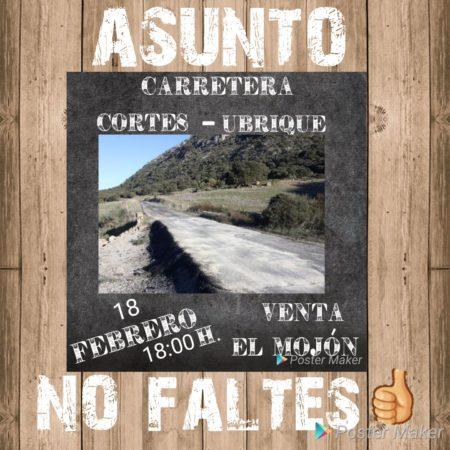 Reunión sobre el estado de la carretera Ubrique-Cortes, el 18 de febrero en el Mojón de la Víbora