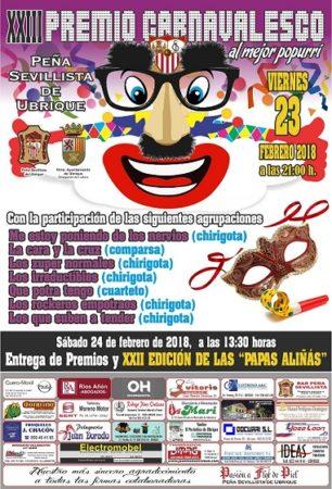 El XXIII Premio Carnavalesco al mejor popurrí, en la Peña Sevillista el viernes 23 de febrero
