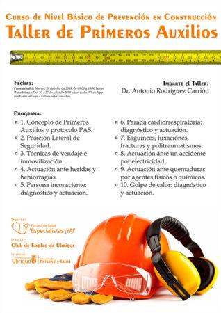 Curso de nivel básico de prevención en el sector de la construcción, con sesión práctica el 24 de julio