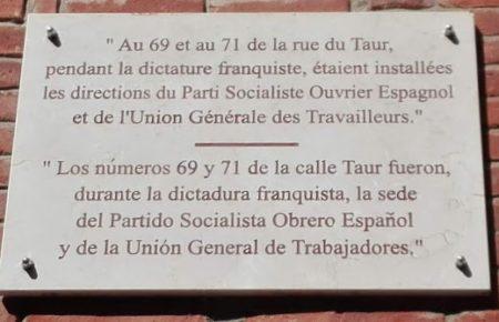 Rótulo sobre el exilio republicano español en Toulouse.