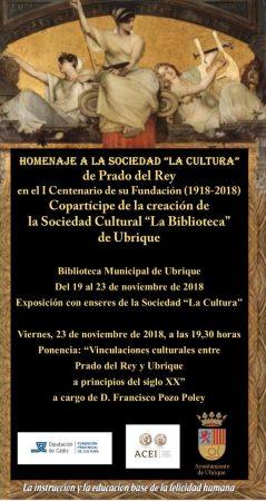 Exposición en la Biblioteca Municipal de Ubrique sobre la sociedad La Cultura, de Prado del Rey, en el centenario de su fundación