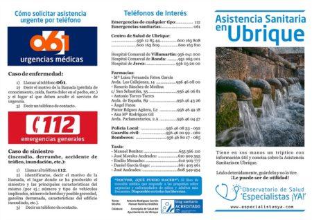 Tríptico informativo sobre la asistencia sanitaria en Ubrique a partir de las sugerencias de colectivos