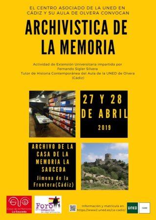 La UNED convoca un Taller de Archivística de la Memoria en la Casa de la Memoria La Sauceda el 27 y 28 de abril de 2019