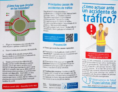 Tríptico informativo sobre cómo actuar ante un accidente de tráfico