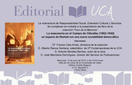 El historiador ubriqueño Antonio Morales Benítez presenta el 19 de junio en Cádiz su libro sobre la masonería en el Campo de Gibraltar en 1902-1942