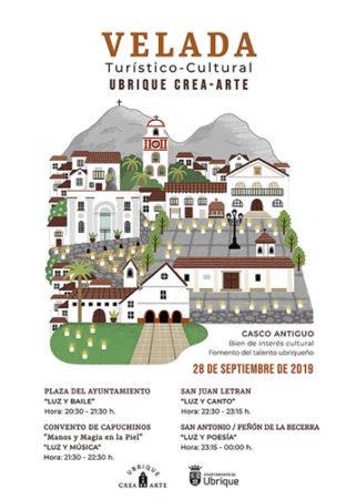 Velada turístico-cultural 'Ubrique crea-arte', el sábado 28 de septiembre en el casco antiguo