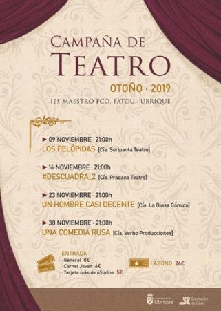 La campaña de teatro de otoño, del 9 al 30 de noviembre en el IES Maestro Francisco Fatou