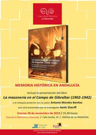El historiador Antonio Morales Benítez presenta su libro sobre la masonería en el Campo de Gibraltar el 29 de noviembre en la Casa de la Memoria