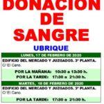 Llamamiento al vecindario de Ubrique para que done sangre el lunes 17 y el martes 18 de febrero de 2020 en el edificio del mercado