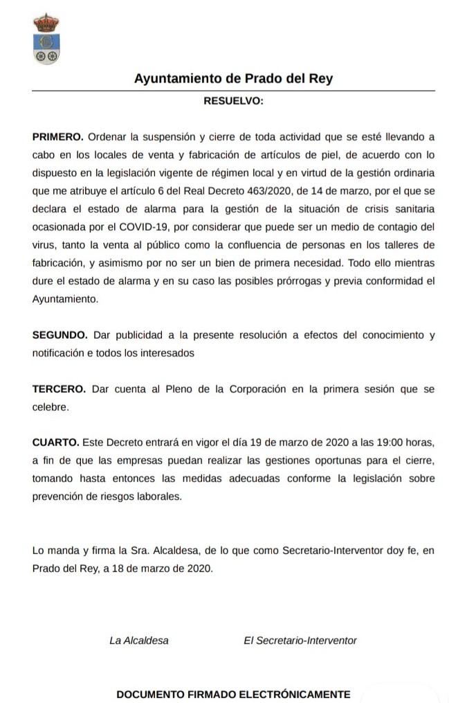 Comunicado del Ayuntamiento de Prado del Rey.