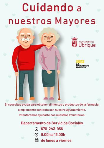 Cartel del servicio de ayuda a los mayores.