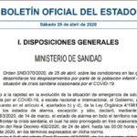 Condiciones para la salida de menores de 14 años a partir de las 9 horas del 26 de abril