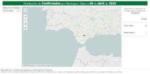 Mapa de estadística de la incidencia del covid-19 en Ubrique, según la Junta de Andalucía.