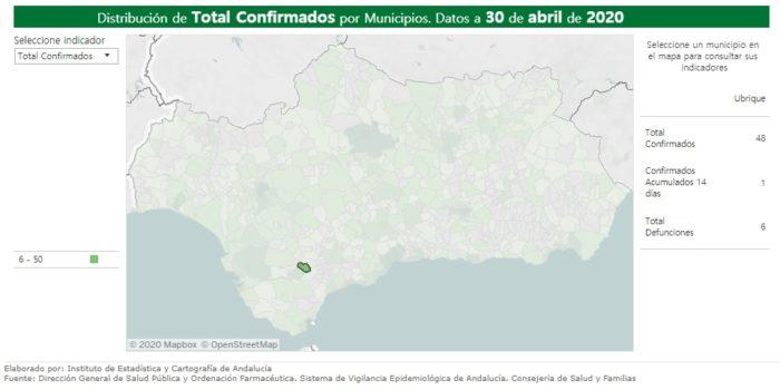 Mapa con la estadística de contagios y fallecimientos en Ubrique por covid-19, según la Junta de Andalucía.