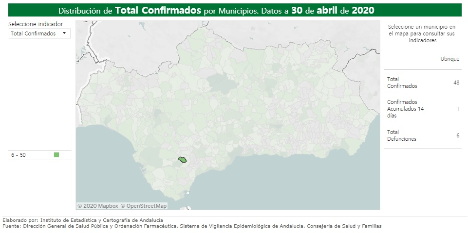 La Junta de Andalucía eleva a seis el número de personas fallecidas en Ubrique por covid-19
