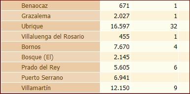 Estadística de casos confirmados por PCR en Ubrique y otros municipios de la Sierra.