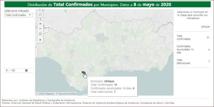 Mapa de incidencia del coronavirus.