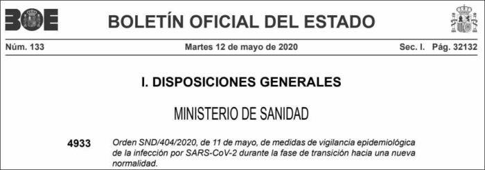Orden del Ministerio de Sanidad en el BOE.