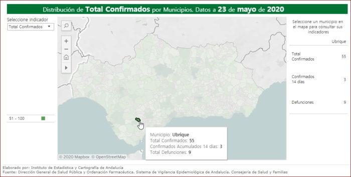 Mapa de incidencia del covid-19.