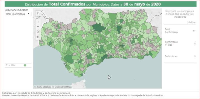 Mapa de casos confirmados de covid-19.