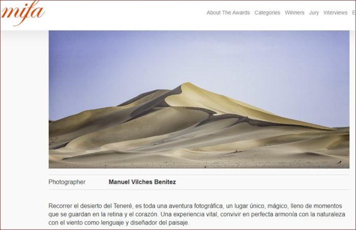 Captura de la web del MIFA con la fotografía de Manuel Vilches.