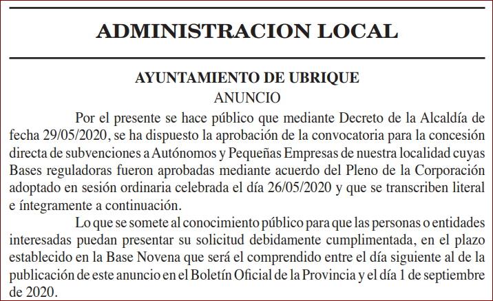 El Ayuntamiento convoca subvenciones para autónomos y pequeñas empresas afectados por la crisis derivada de la pandemia