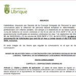 El plazo de solicitud de inscripción en la bolsa de trabajo de personal laboral temporal del Ayuntamiento se abre el 9 de noviembre