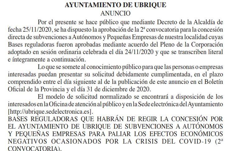 Segunda convocatoria municipal de ayuda a autónomos y pymes para paliar perjuicios económicos por la pandemia