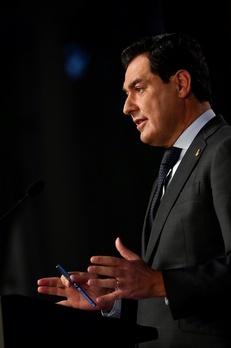 El presidente de la Junta de Andalucía, Juan Manuel Moreno, durante su comparecencia.