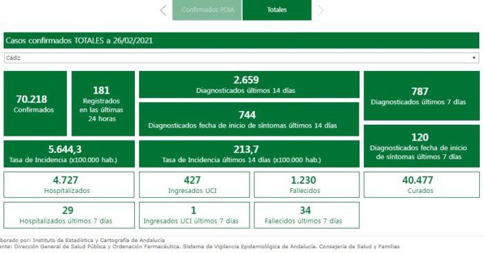 Datos de incidencia del coronavirus en la provincia de Cádiz, 2772/2021.