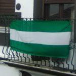 Bandera de Andalucía en balcón.