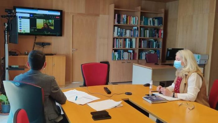 Videoconferencia entre Mercedes Colombo e Isabel Gómez.