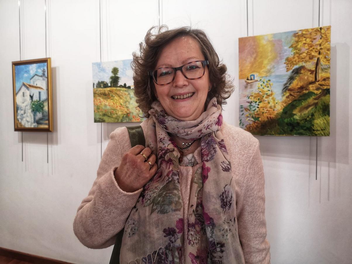 Ana Mary García Rodríguez, en su exposición (Foto: Antonio Morales Rodríguez).