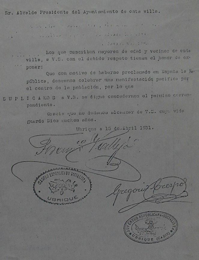 Solicitud de manifestación por la República en Ubrique firmada por Francisco Vallejo y Gregorio Crespo el 15 de abril de 1931 (Archivo Municipal de Ubrique).