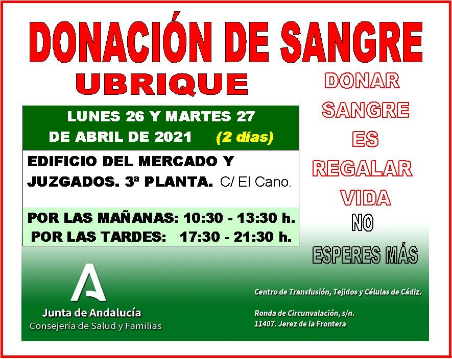 Cartel de la convocatoria de donación de sangre.