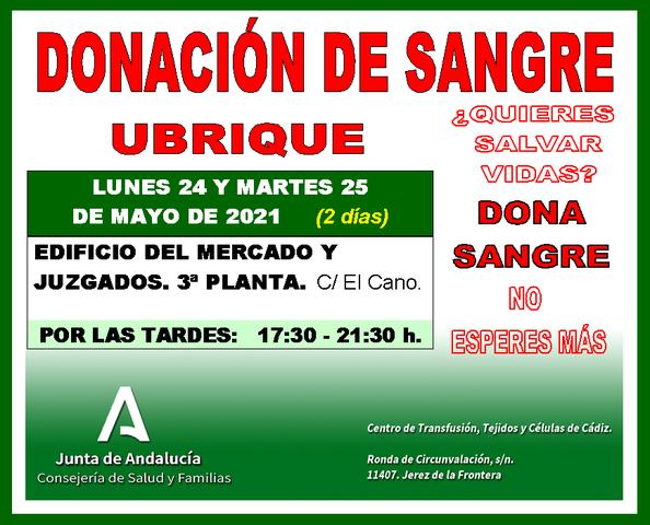 Llamamiento para la donación de sangre los días 24 y 25 de mayo
