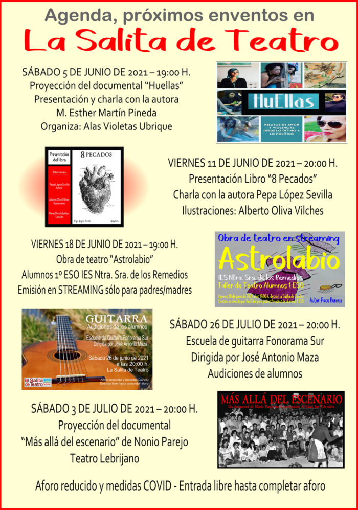 Cartel de las actividades en La Salita de Teatro.
