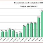 Evolución de la tasa de contagio de covid-19 en Ubrique.
