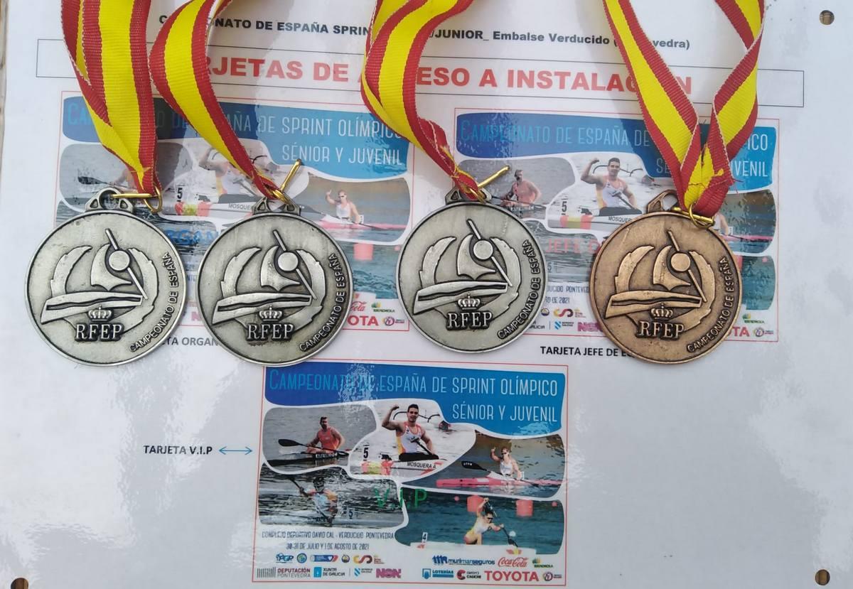 Plata en kl2, 200 m Plata en vl3 200 mt Bronce kl2, 500 m Plata vl3, 500 m