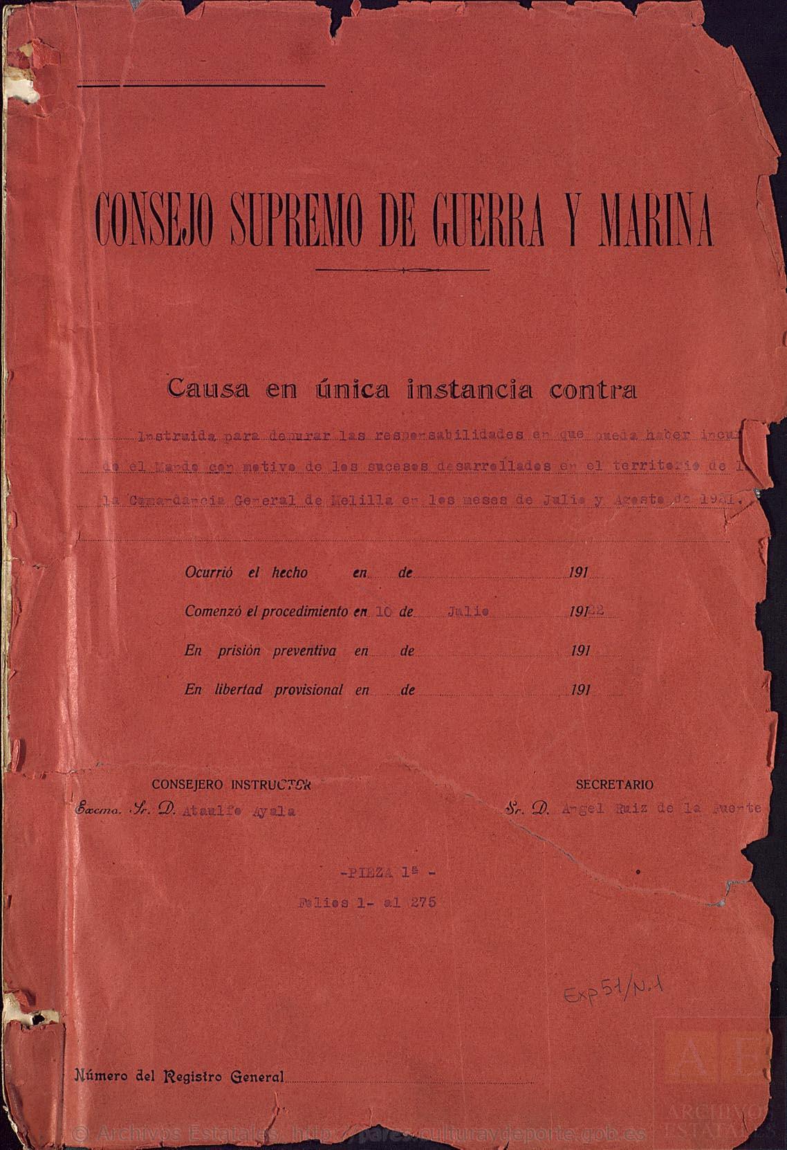 Portada de la primera pieza del Expediente Picasso (Archivo Histórico Nacional).