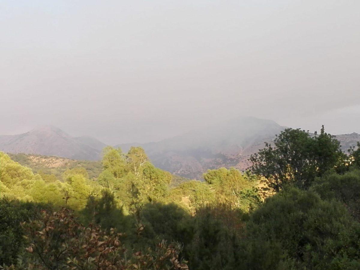 Sierra Bermeja, con humo.